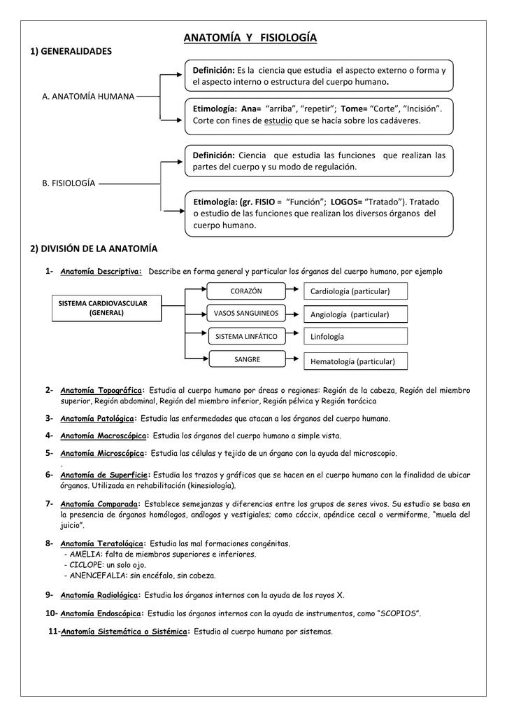 ANATOMÍA Y FISIOLOGÍA 1) GENERALIDADES