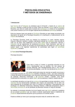 PSICOLOGÍA EDUCATIVA Y MÉTODOS