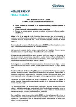 NOTA DE PRENSA PRESS RELEASE  LANZA MOVISTAR SERVICIO 3.5G EN