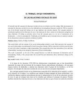 EL TRABAJO, UN EJE FUNDAMENTAL DE LAS RELACIONES SOCIALES DE SEXO