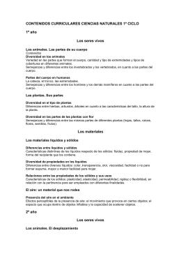 CONTENIDOS CURRICULARES CIENCIAS NATURALES 1º CICLO