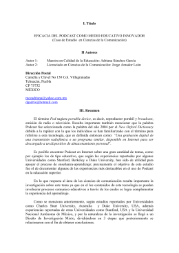 I. Título II Autores  EFICACIA DEL PODCAST COMO MEDIO EDUCATIVO INNOVADOR