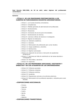 RD 898/1985, sobre Régimen del Profesorado Universitario