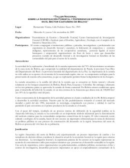 Reunión Nacional: Investigación Forestal y Experiencias