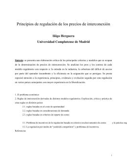 Principios de regulación de los precios de interconexión