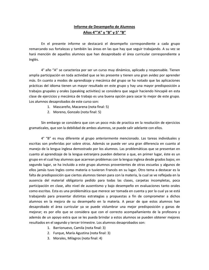 Informe de Desempeño de Alumnos