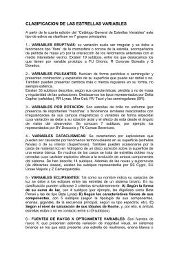 CLASIFICACION DE LAS ESTRELLAS VARIABLES