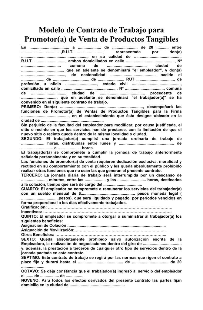 Modelo De Contrato De Trabajo Para Promotor A De Venta De