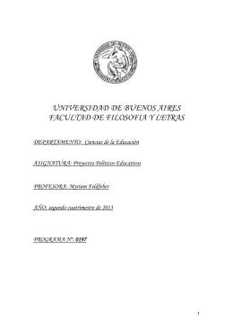 Programa Proyectos Políticos Educativos 2° 2013