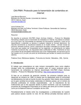 OAI-PMH: Protocolo para la transmisión de contenidos en Internet