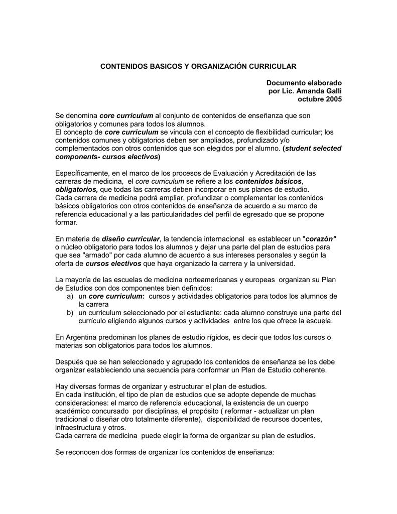 Galli A. Contenidos básicos y organización curricular.