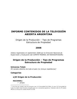 INFORME CONTENIDOS DE LA TELEVISIÓN ABIERTA