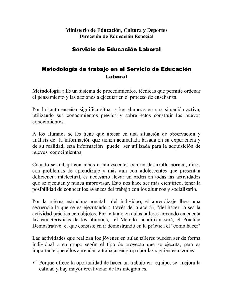 Documento Sobre La Metodología De Educación Laboral