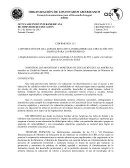 ORGANIZACIÓN DE LOS ESTADOS AMERICANOS Consejo Interamericano para el Desarrollo Integral (CIDI)