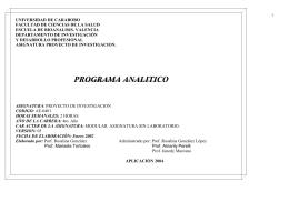 UNIVERSIDAD DE CARABOBO FACULTAD DE CIENCIAS DE LA SALUD DEPARTAMENTO DE INVESTIGACIÓN