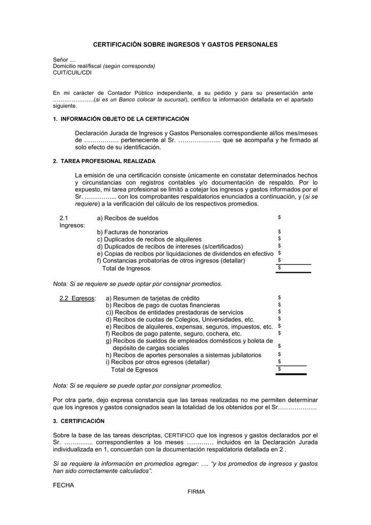 certificacion sobre ingresos y gastos personales