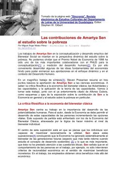 Las contribuciones de AMARTYA SEN al estudio sobre la pobreza.