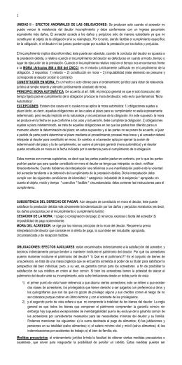 UNIDAD II – EFECTOS ANORMALES DE LAS OBLIGACIONES: Se