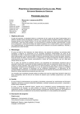 Redacción y comunicación - Pontificia Universidad Católica del Perú