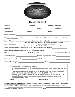 ADMITTANCE SHEET - Elite Physical Therapy