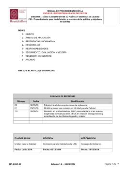 Procedimiento para la definición y revisión de la política y objetivos