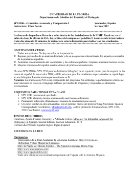 OBJETIVOS DEL CURSO - UF Spanish and Portuguese Syllabi
