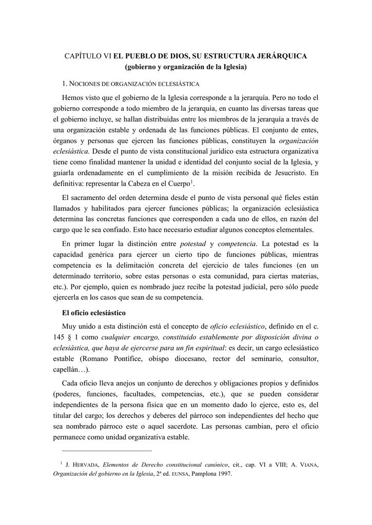 Capítulo Vi El Pueblo De Dios Su Estructura Jerárquica
