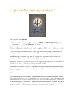 """""""Pueblo, doctrina y proyecto de país""""."""