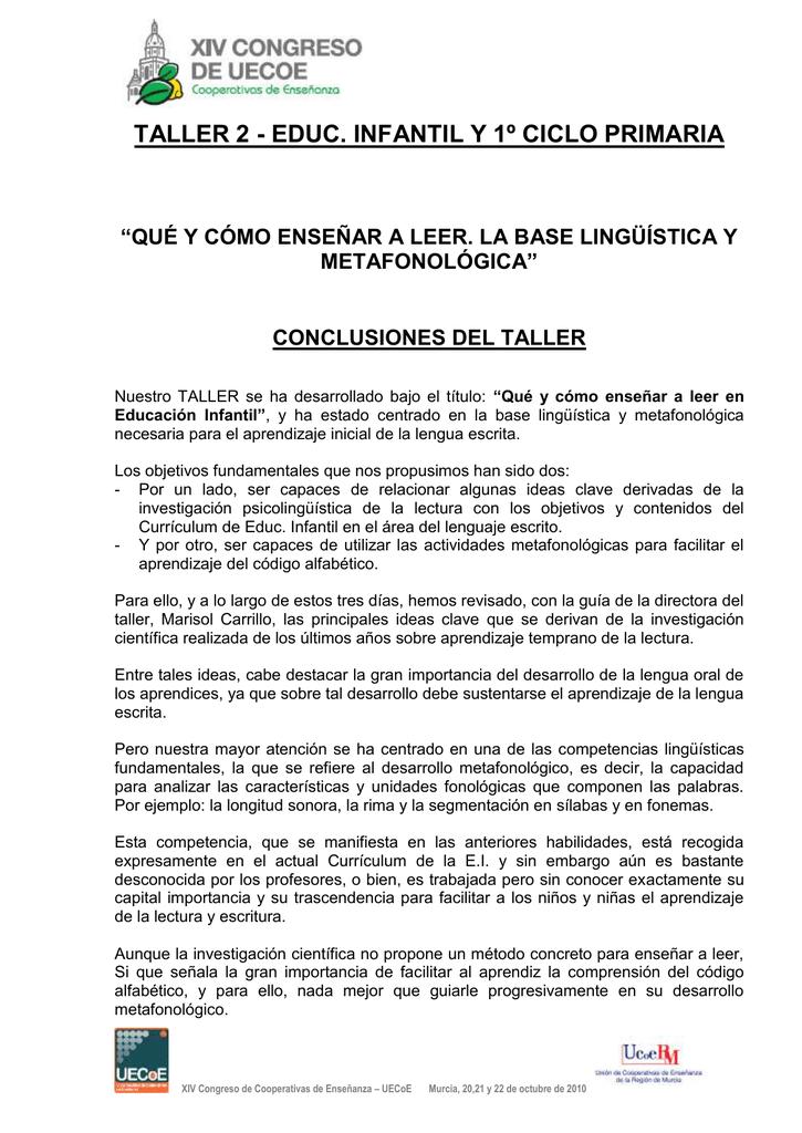 """TALLER 2 - EDUC. INFANTIL Y 1º CICLO PRIMARIA METAFONOLÓGICA"""""""