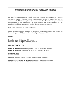 Convocatoria del curso - Universidad de Valladolid