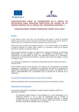 BASES DE LA CONVOCATORIA TERCER TRIMESTRE CURSO