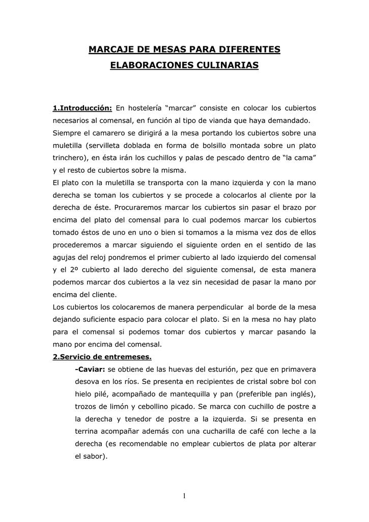 MARCAJE DE MESAS PARA DIFERENTES ELABORACIONES