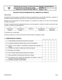 Nombre del documento: Formato de Encuesta Código: ITG-AD-PO-007-01