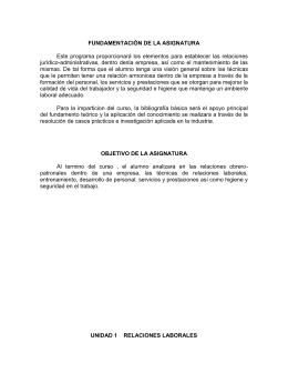 FUNDAMENTACIÓN DE LA ASIGNATURA