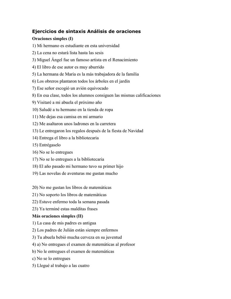 Ejercicios De Sintaxis Análisis De Oraciones E