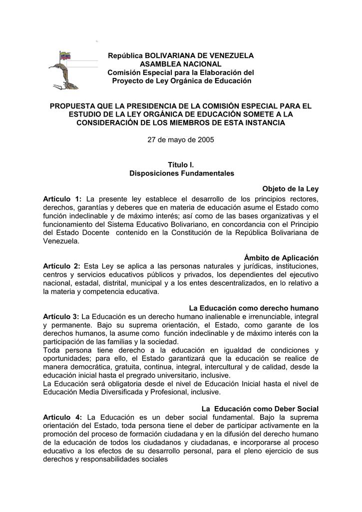 República Bolivariana De Venezuela Asamblea Nacional