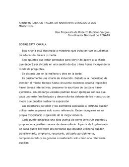 TALLER PARA MAESTROS / ESCRIBIR HISTORIAS
