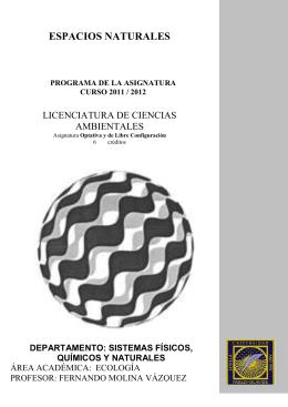 ESPACIOS NATURALES LICENCIATURA DE CIENCIAS AMBIENTALES