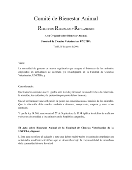 Acta sobre Bienestar Animal, - Facultad de Ciencias Veterinarias