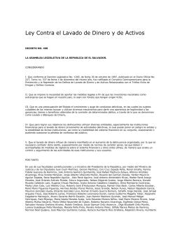 Ley Contra el Lavado de Dinero y de Activos