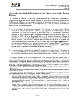 Informe sobre la Aprobación de Secciones de Atención Especial por