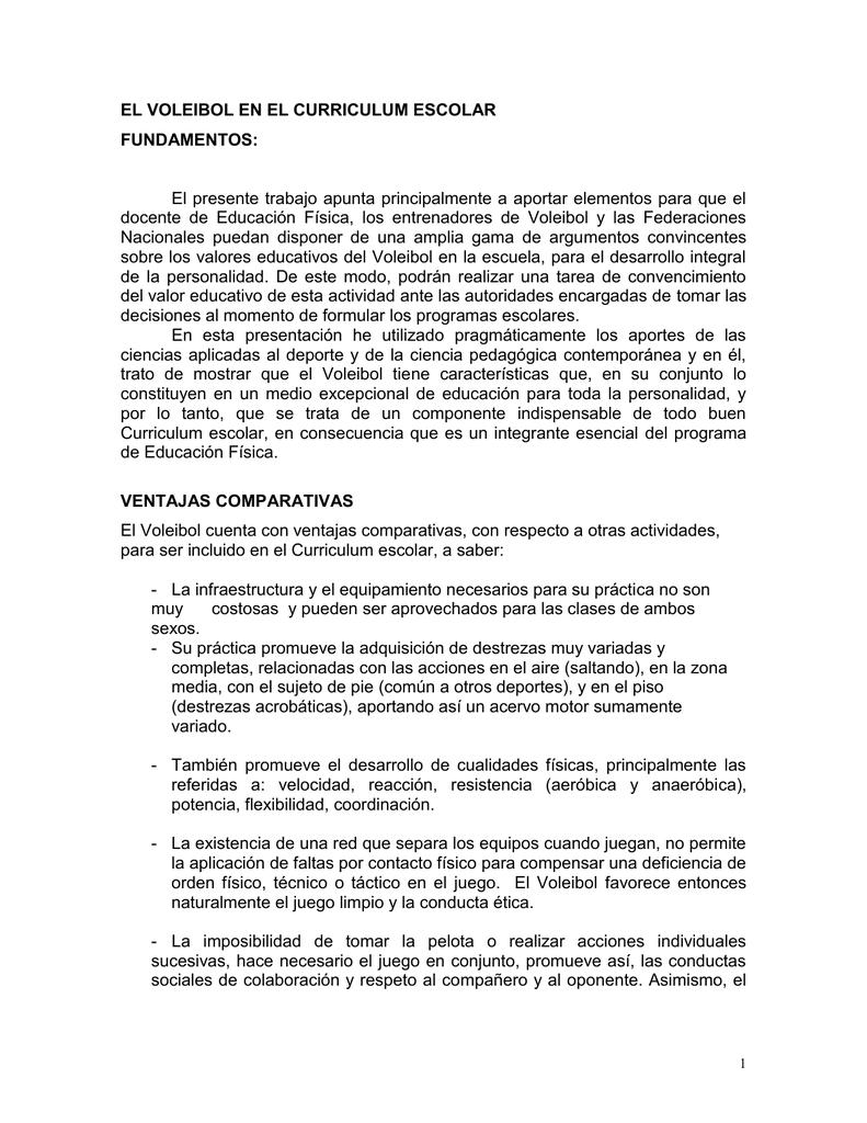 EL VOLEIBOL EN EL CURRICULUM ESCOLAR