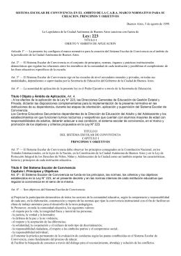 Sistema Escolar de Convivencia. Ley 223 y Dto 998