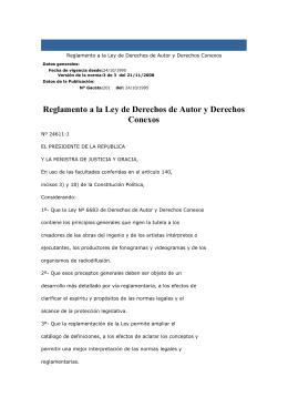 Reglamento a la Ley de Derechos de Autor y Derechos Conexos