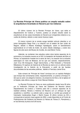 La Revista Príncipe de Viana publica un amplio estudio sobre la
