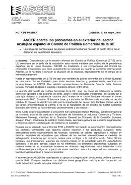 ASCER traslada los problemas del sector cerámico