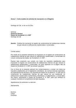 Carta de registro de proveedores