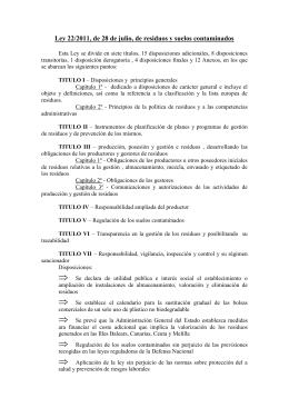 Ley 22/2011, de 28 de julio, de residuos y suelos
