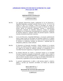 DS 24483 Reglamentos de Proteccion Radiologica