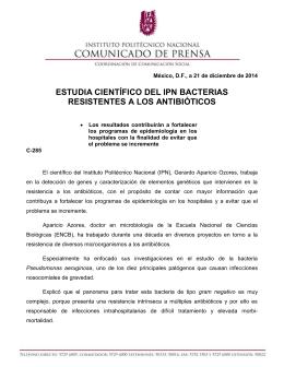 ESTUDIA CIENTÍFICO DEL IPN BACTERIAS RESISTENTES A LOS ANTIBIÓTICOS